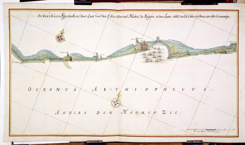 Landkarte mit Küstenprofil der Goldküste