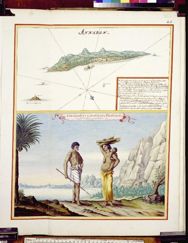 Annobón aus der Vogelperspektive und Bewohner von Olibatta