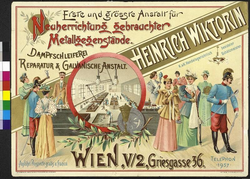 Neuerrichtung gebrauchter Metallgegenstände - Galvanische Anstalt Heinrich Wiktorin