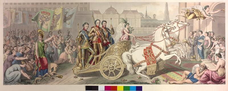 Kaiser Franz I., Zar Alexander I. und König Friedrich Wilhelm III. auf einem Triumphwagen