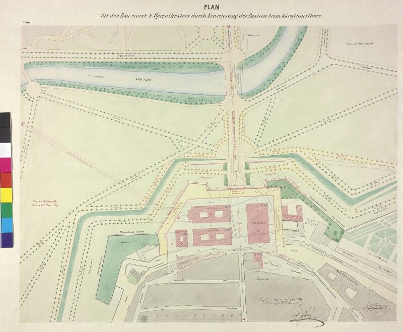 Plan für den Bau eines k.k. Operntheaters durch Erweiterung der Bastion beim Kärnthnerthore