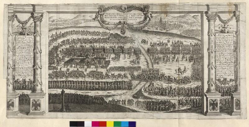 Aufstellung des Festzuges von Margarete Theresia, Infantin von Spanien, vor ihrem Einzug in Wien, zu ihrer Hochzeit mit Kaiser Leopold I., im Dezember 1666