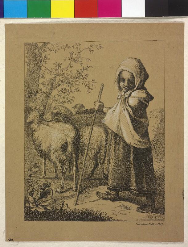 Hirtenmädchen mit Schafen