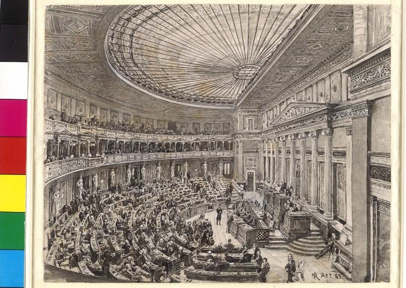 Sitzungsaal der Abgeordneten im Reichsratsgebäude in Wien