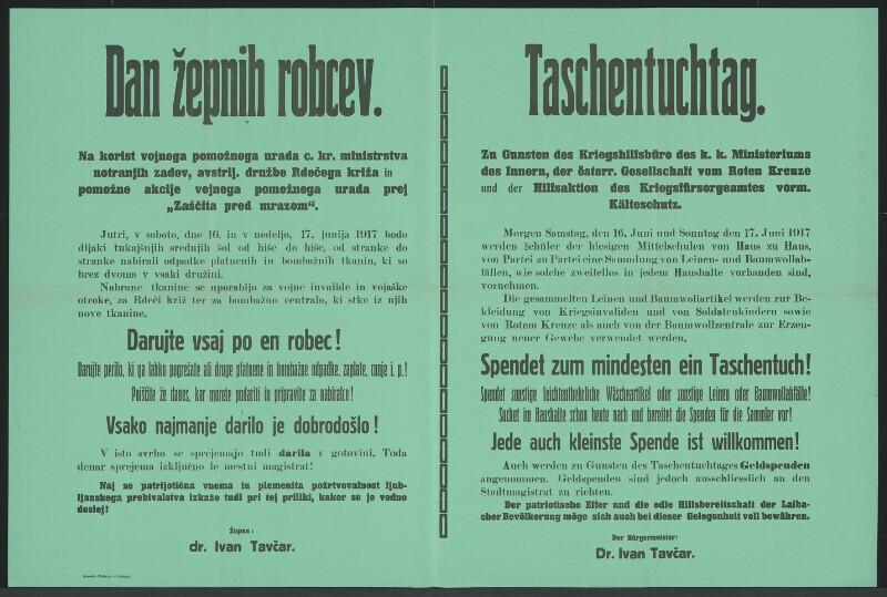 Taschentuchtag - Laibach - Mehrsprachiges Plakat