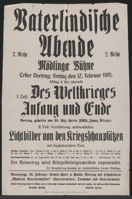 Plakat der Mödlinger Bühne vom 12.2.1915©Bildarchiv Austria, ÖNB