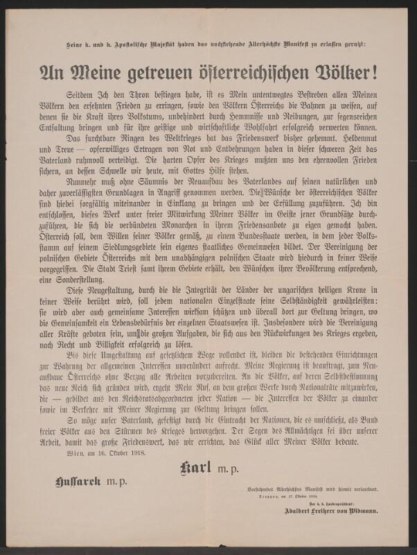 An Meine getreuen österreichischen Völker! - Troppau