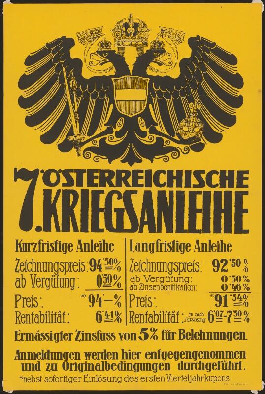 Siebente österreichische Kriegsanleihe - Anmeldungen werden hier entgegengenommen