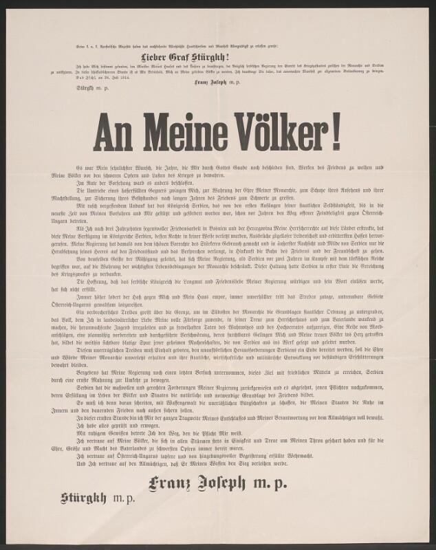 An Meine Völker! - Schreiben von Kaiser Franz Joseph - Kriegserklärung