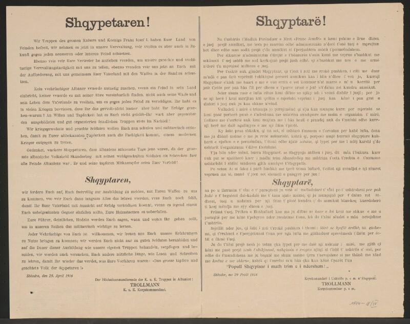 Shqypetaren! - Militärische Erziehung - Skutari - Mehrsprachiges Plakat
