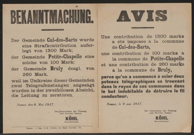 Strafkontribution - Sabotage - Mehrsprachige Bekanntmachung - Namur