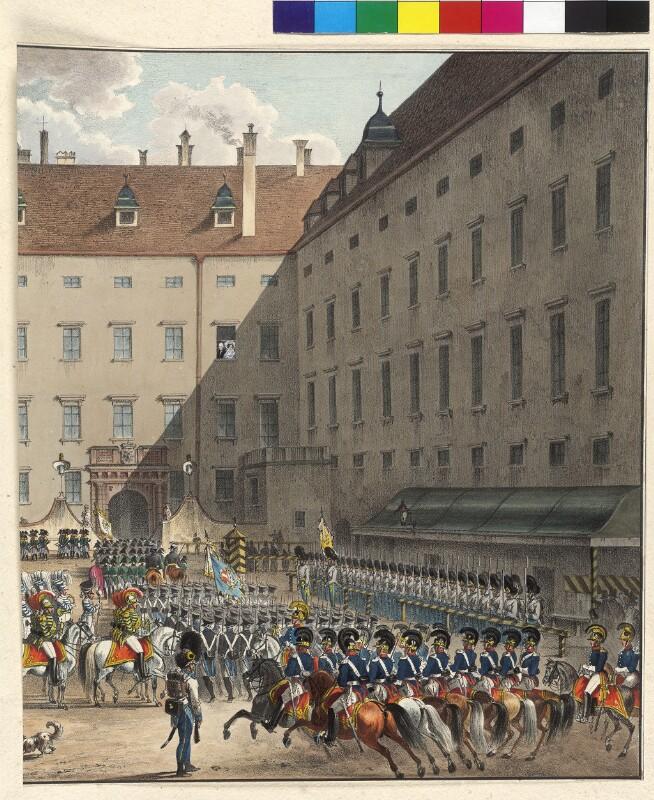 Parade der Burgwache im inneren Burghof in Wien 1831