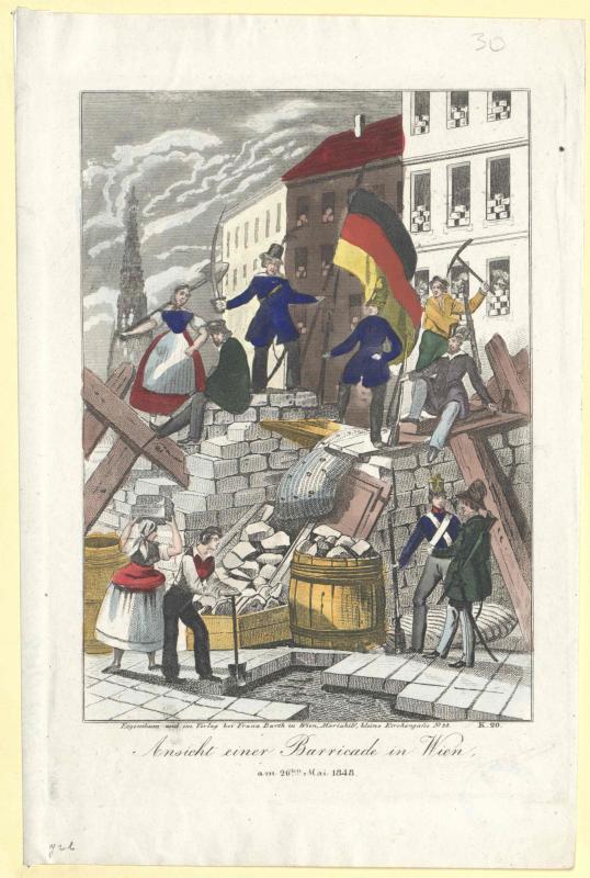 Ansicht einer Barricade in Wien am 26.ten Mai 1848