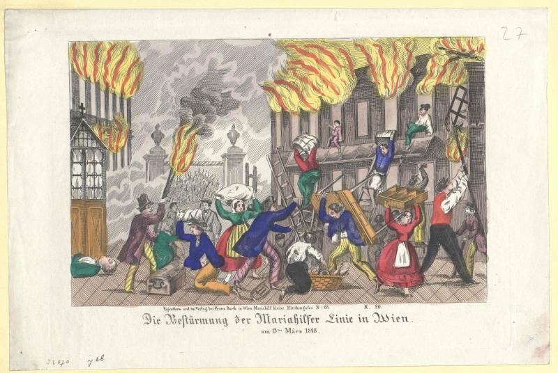Die Bestürmung der Mariahilfer Linie in Wien, am 13ten März 1848