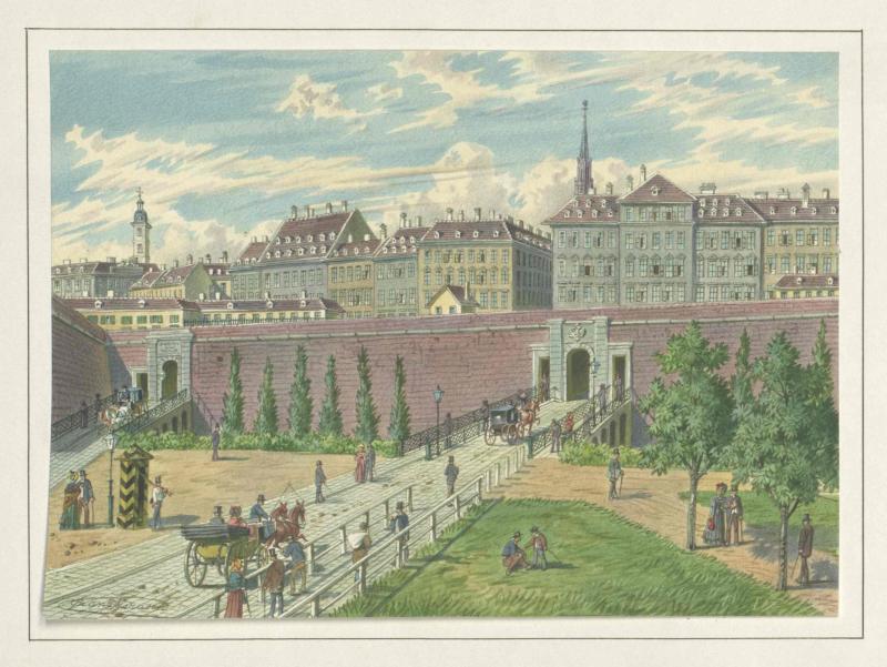 Kärntnertorbastei mit beiden Toren in Wien