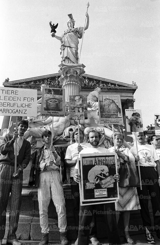 Anti-Tierversuch Demonstration 1986 in Wien