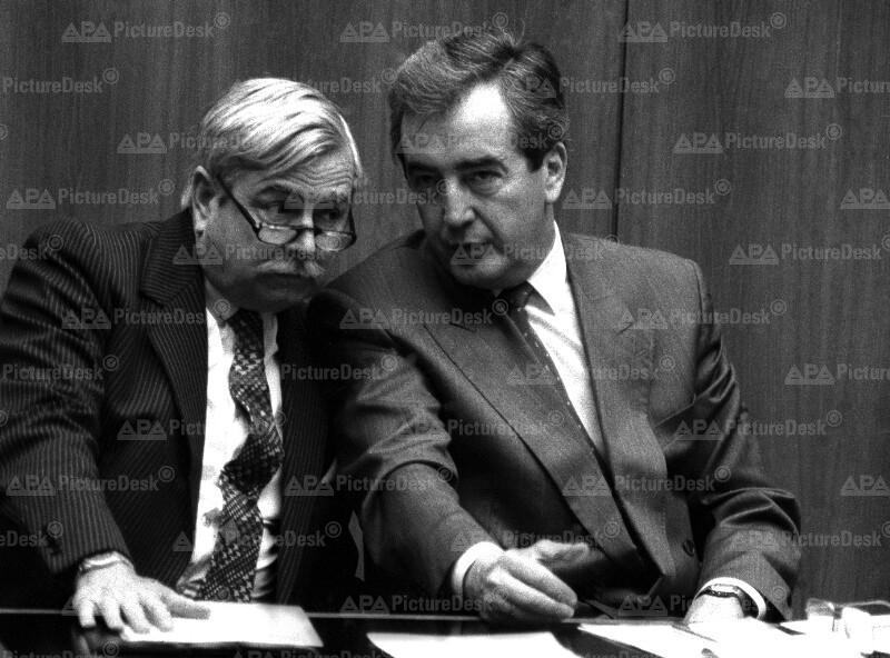 Alois Mock und Robert Graf bei Nationalratsdebatte