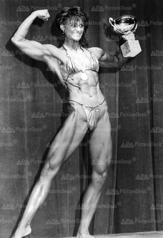 Gabriele Sievers bei Bodybuilding Profi-Weltmeisterschaft in Wien 1987