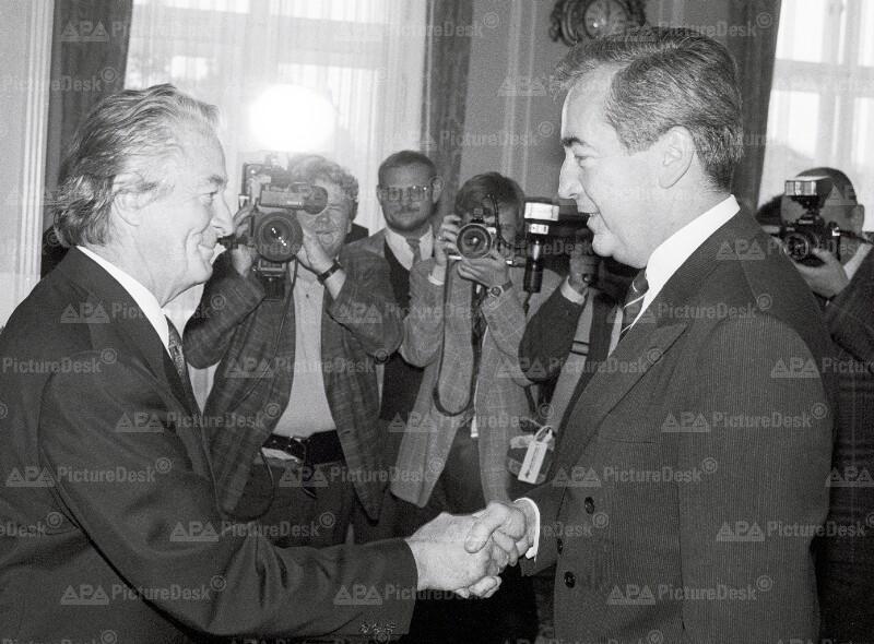 Alois Mock und Roland Dumas