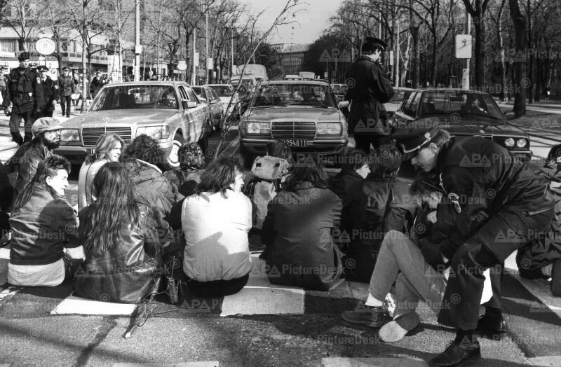 Demo gegen steigenden Transitverkehr in Wien 1989