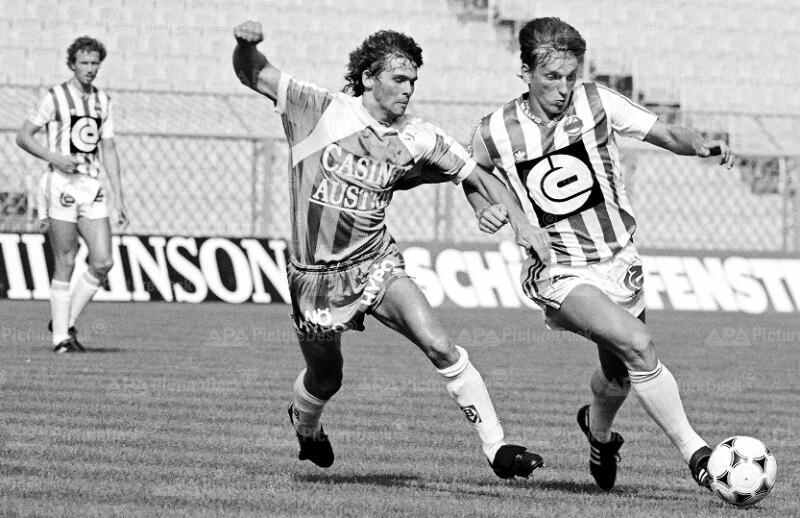 Bundesliga 1988 - Rapid vs Admira Wacker - Peter Artner und Andreas Herzog