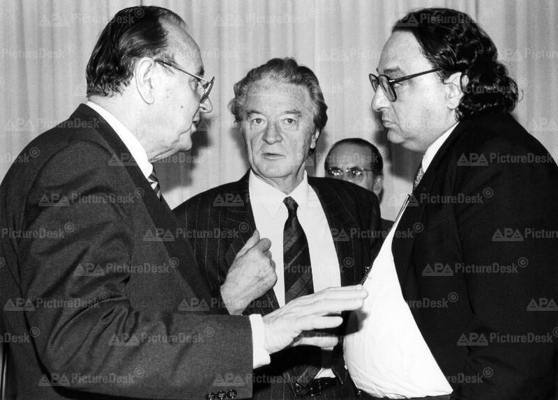 Hans-Dietrich Genscher, Roland Dumas und Gianni de Michelis