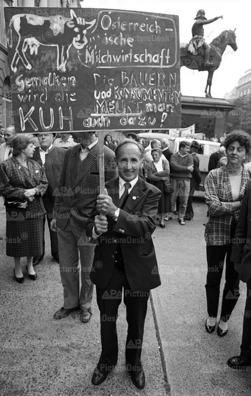 Bauern-Demonstration 1989 in Wien