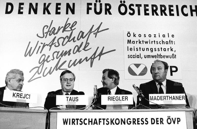 ÖVP-Wirtschaftskongress - Josef Riegler, Herbert Krejci, Josef Taus und Leopold Maderthaner