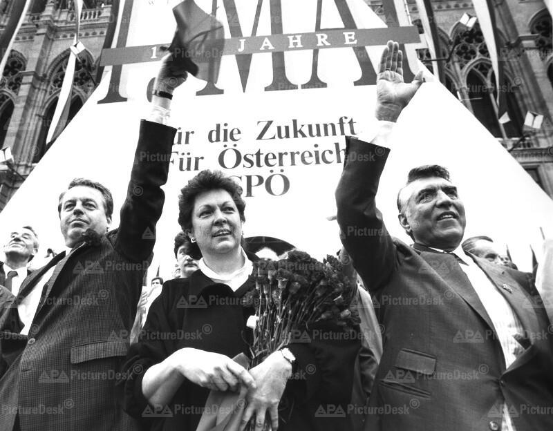 1. Mai 1990 - Franz Vranitzky, Ingrid Smejkal, Helmut Zilk