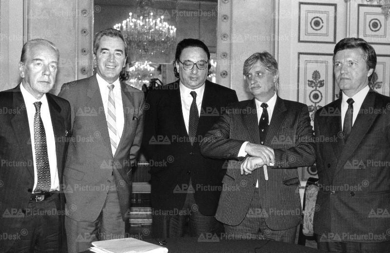 Außenminister der Pentagonale - Loncar, Mock, Michelis, Dienstbier und Somogyi