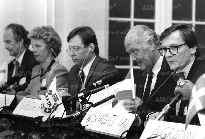 EFTA-Konferenz 1991 - Hannibalsson, Nordbo, Salolainen, Reisch und Schüssel
