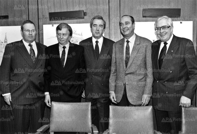 Arbeitstreffen der EDU-Vizepräsidenten - Suominen, Antall, Mock, Chirac und Vogel