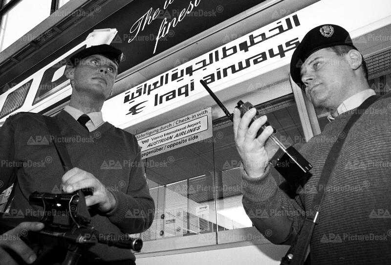 Ausbruch des Golfkrieges - Sicherheitskräfte am Flughafen Schwechat