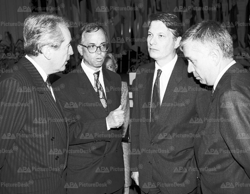 Alois Mock, Werner Fasslabend, Peter Kostelka und Franz Löschnak