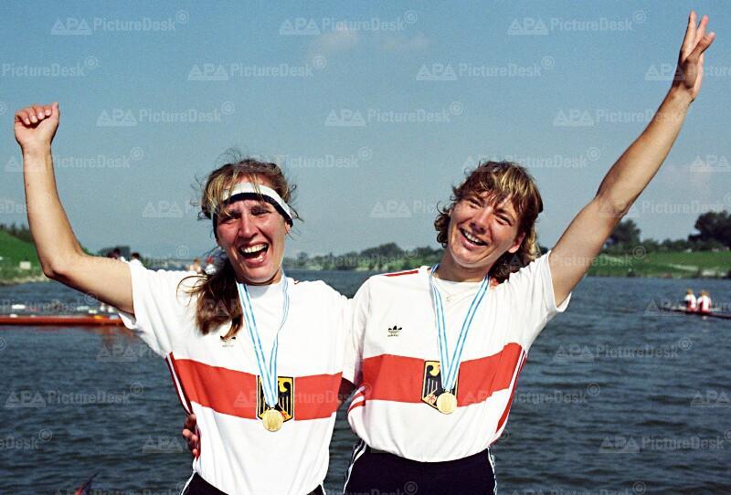 Ruder WM 1991 - die deutschen Frauen Weber, Waldi