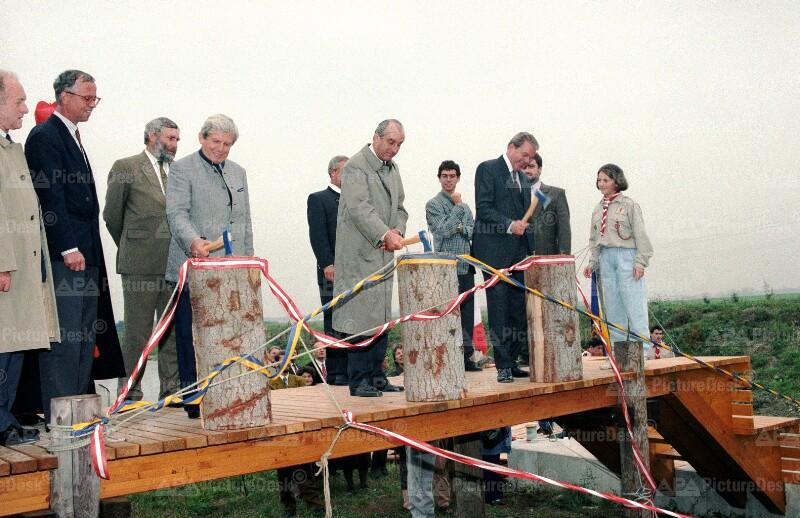 Eröffnung des Marchfeldkanals - Klestil, Vranitzky und Ludwig