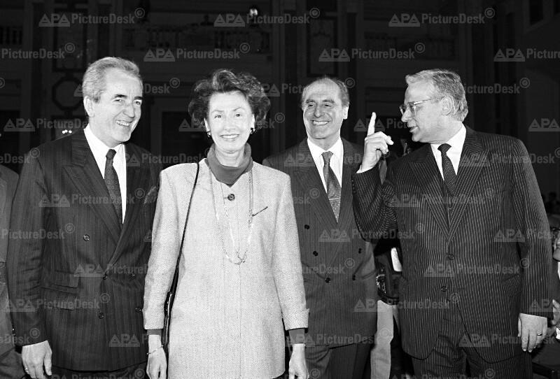 Alois Mock, Edith Klestil, Thomas Klestil und Erhard Busek