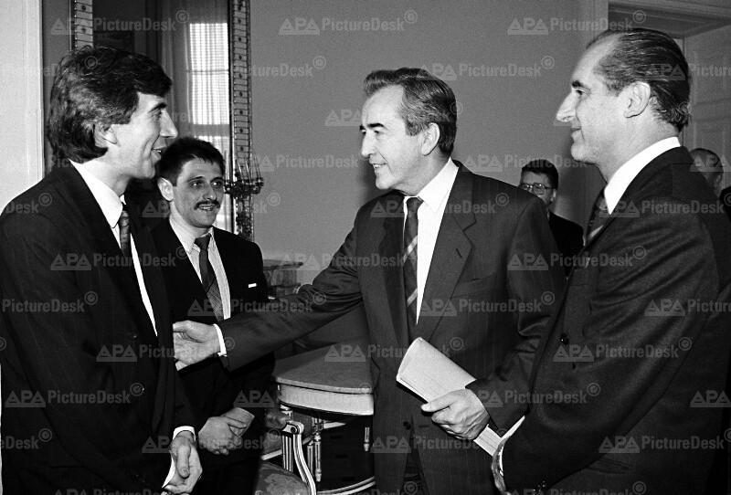 Alois Mock, Stojan Ganew und Thomas Klestil
