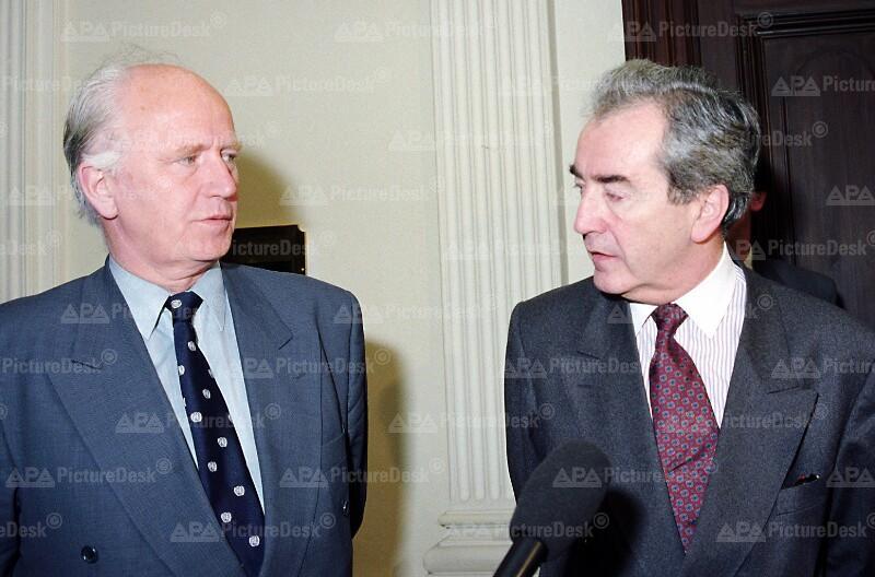 Bosnisch-kroatische Friedensverhandlungen in Wien – Thorvald Stoltenberg und Alois Mock