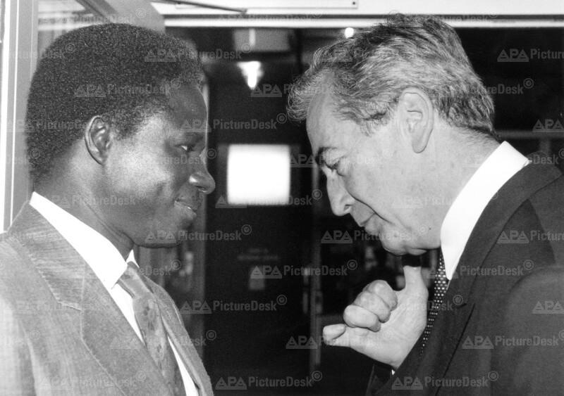Alois Mock und Ibrahim Fall auf UNO-Menschenrechtskonferenz
