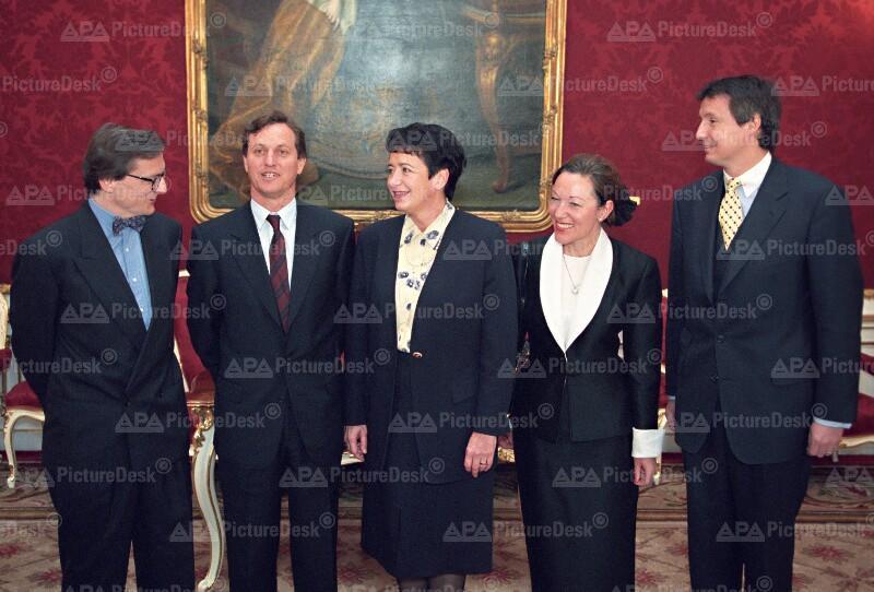 Angelobung von Schüssel, Ditz, Gehrer, Ferrero-Waldner and Bartenstein