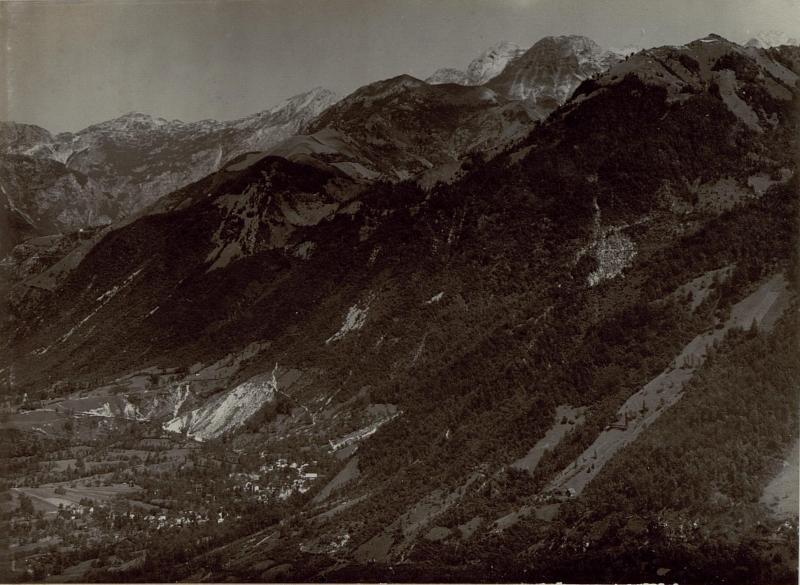 Panorama bei Tolmin, Gebirgsverlauf bei Tolmin (Tolmein), Bild 65 nach rechts fortsetzend