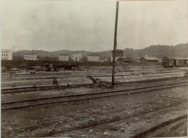 Schäden an der Gleianlage beim Staatsbahnhof in Görz