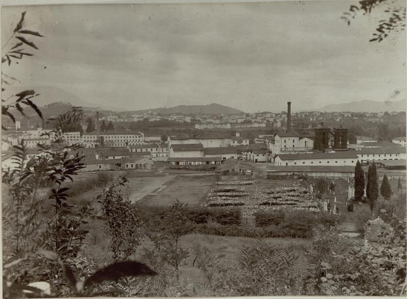 Ansicht der Papierfabrik in Podgora bei Görz.