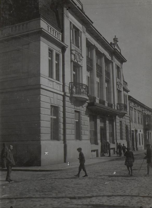 """Die """"Böhmische Landesbank"""" in Brody als Kommandogebäude der Wiener Division."""