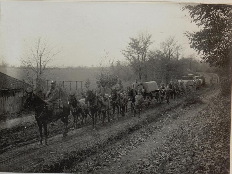 Bereitgestellte Kriegs - Brücken Equipage. November 1915. Cukojevac an der Morava.