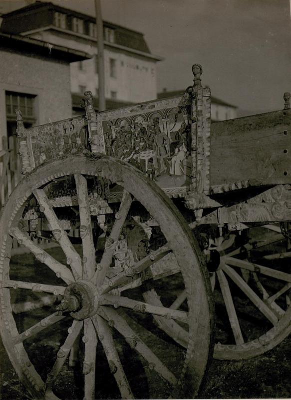 Erbeutete italienische Karre. in Villach (Kriegsmaterial-Sammelstelle)