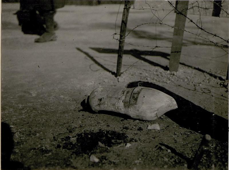 Die bei Calliano am 24.2. 1918 abgeworfene, nicht  explodierteitalienische Fliegerbombe