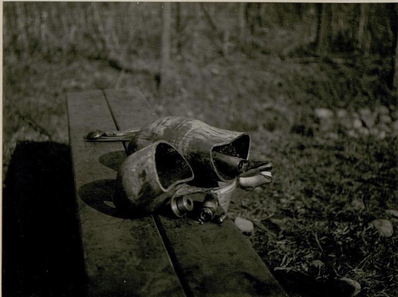 Die bei Calliano am 24.2. 1918 abgeworfene, nicht  explodierteitalienische Fliegerbombe, durchschnitten, Zündvorrichtung entnommen.