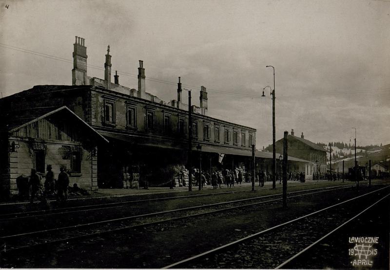 Abgebrannter Bahnhof,  Lawoczne.